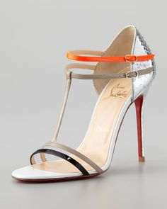 Need these for summer! Arnold Python T-Strap Sandal by Christian Louboutin at Neiman Marcus.