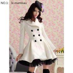 Manteau Sweet Lolita blanc taille optionnel mi-longue en drape de laine