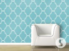 Classic Trellis Removable Wallpaper - Tiffany Blue, White Sand, Silly Putty - $56.25 ea - Swagpaper.com