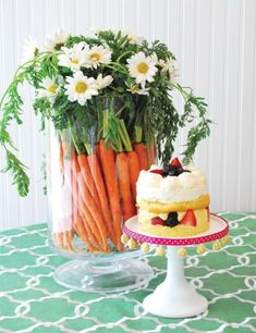 Carrots + Daisies Centerpiece in a trifle bowl