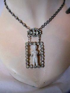 Rhinestone Frozen Charlotte Necklace Antiqued by TheVelvetGarage, $60.00