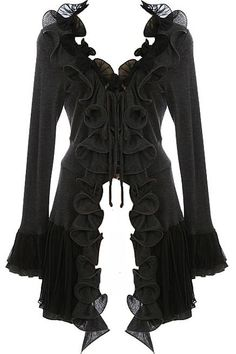 Cascading Frills Cardigan: Features pleated chiffon trim surrounding the neck and falling down the entire length of the placket, long cozy sleeves with flared trumpet cuffs, and a mesmerizing asymmetrical hem to finish.