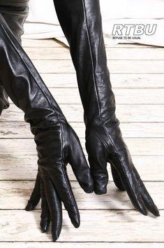 Full Sleeve Under Arm Genuine Leather Runway Fashion Noir Elegant Gloves, Leder Outfits, Black Leather Gloves, Old Women, Runway Fashion, Latex, Skinny, Trending Outfits, Etsy