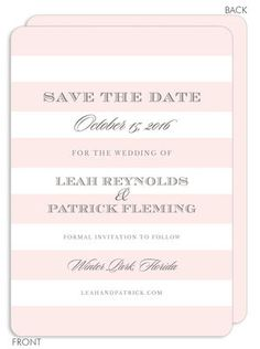 Blush Broad Stripes Save the Date Announcements