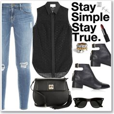 Stay True.... by christinacastro830 on Polyvore featuring polyvore, fashion, style, 3.1 Phillip Lim, Frame Denim, Topshop, Karl Lagerfeld, Noir, Gioelli Designs and Ray-Ban