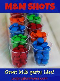 M&M Shots...a cool idea for kids parties!
