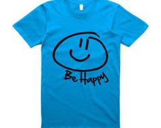 Be Happy Smiley Face Black On Blue T-Shirt - smiley Face,Happy- Gift Christmas Present