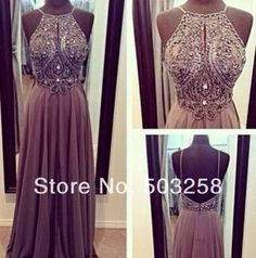 AED9 Beaded High Neck Open Back Chiffon Long Evening Dress Modest Prom Evening Gowns With Beads And Crystals $152