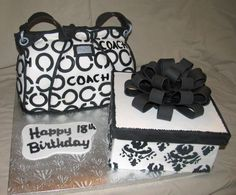 white and black coach purse cakes   ... black and white. Found a picture of this bag online. Purse and gift