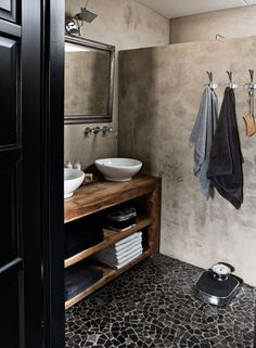 Nice way to provide open shower with privacy in a guest bath