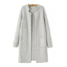 SheIn(sheinside) Light Grey Stand Collar Long Sleeve Knit Cardigan ($24) ❤ liked on Polyvore featuring tops, cardigans, long knit cardigan, pocket cardigan, long tops, long gray cardigan and gray cardigan