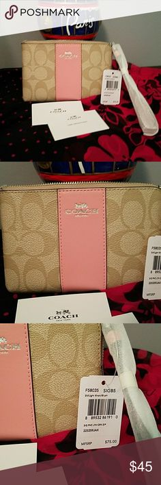 BRAND NEW COACH WRISTLET BRAND NEW COACH CORNER ZIP WRISTLET TAN WITH PINK LEATHER CENTER TAGS STILL ATTACHED MOYE THIS ONE DOES NOT COME WITH JANG TAG 6 INCHES LONG BY 4 INCHES HIGH  PINK INTERIOR  PRICE FIRM UNLESS BUNDLED SORRY NO TRADES Coach Bags Clutches & Wristlets