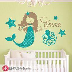 Mermaid Nursery Wall Decal: Ocean Under the Sea Baby Girl Nursery Personalized Underwater Wall Stickers Mermaid Wall Decals, Name Wall Decals, Wall Decal Sticker, Wall Mural, Murals, Wall Art, Sea Nursery, Nautical Nursery, Girl Nursery