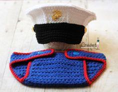 Original Design Crochet Marine Corps and Diaper cover set, USMC Hat, Baby Hat Photography prop - Hobbyist License 41302