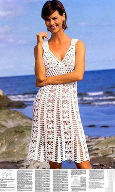 Beach crochet dress PATTERN, sexy crochet beach tunic pattern, crochet resort tunic, detailed description in English, summer crochet dress.