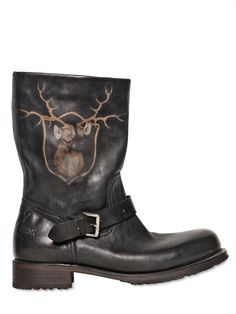 DSQUARED - 3.5CM DEER PRINTED LEATHER BOOTS - LUISAVIAROMA - LUXURY SHOPPING WORLDWIDE SHIPPING - FLORENCE