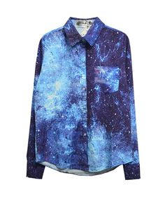 Loose Fit Galaxy Print Long Sleeves Blue Blouse With Lapel Collar