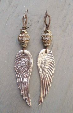 Sterling silver Angel wing earrings 'Diamonds in the Sky' vintage rhinestones, pyrite, sparkily, bohemian glam, feather, rocker eco chic. $120.00, via Etsy.