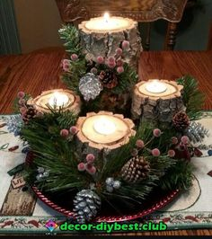 72 Trend Simple Rustic Winter Christmas Centerpiece - Simple And Popular Christmas Decorations, Table Decorations, Christmas Candles, DIY Christmas Cente - Winter Table Centerpieces, Christmas Candle Decorations, Centerpiece Decorations, Christmas Candles, Holiday Decor, Christmas Arrangements, Christmas Wood, Simple Christmas, Winter Christmas