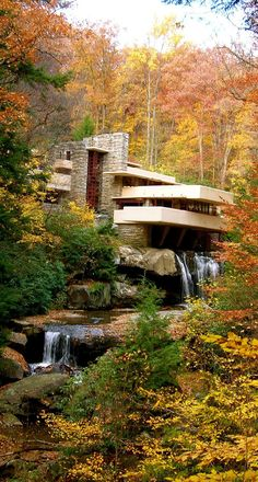 Falling Water designed by Frank Lloyd Wright in 1935. he was born in 1867! - what an amazing mind to have timeless ideas that changed the way we look at space and live in it #homearchitecture