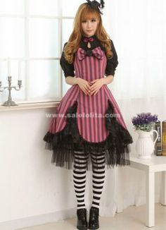 2014 Sweet Princess Black And Red Lace Slim Half Sleeves Casual Lolita Dress For Lady