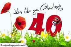 Geburtstagskarte mit Blumenwiese zum 40. Geburtstag - Geburtstagssprüche-Welt