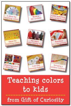 Teaching colors to kids. I love all these fun and hands-on ideas for helping kids learn their colors. The no mess coloring mixing activity looks especially fun! || Gift of Curiosity