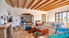 Living room in country house with stunning sea view in Portocolom, Mallorca
