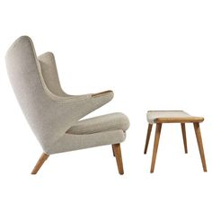 Hans J. Wegner Papa Bear with Stool | From a unique collection of antique and modern armchairs at https://www.1stdibs.com/furniture/seating/armchairs/