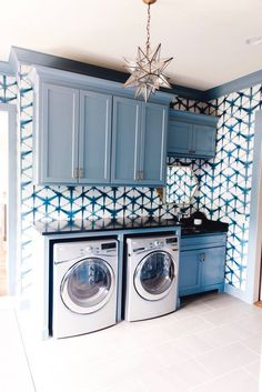 45 The Best Laundry Room Makeover Ideas For Your Dream House - Its one of the most used rooms in the house but it never gets a makeover. What room is it? The laundry room. Almost every home has a laundry room and . Blue Laundry Rooms, Laundry Room Layouts, Laundry Room Remodel, Laundry Room Cabinets, Laundry Room Organization, Laundry Room Design, Laundry Room Makeovers, Blue Cabinets, Colorful Laundry Rooms