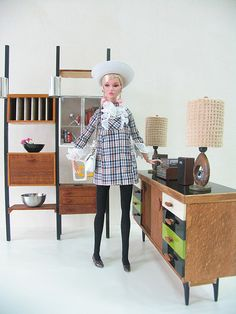 denise poppy parker centerpiece ready steady go from 2011 jet set convention doll wears momoko groovy baby outfit with ask any girl poppy parker white hat with white purse from poppy sweet confection in front of credenza and george nelson wall unit and ot