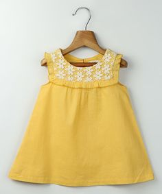Another great find on #zulily! Yellow Lace Accent Babydoll Dress - Infant & Toddler #zulilyfinds