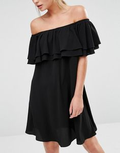 New Look | New Look Bardot Frill Mini Dress at ASOS