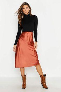 77cf7371f boohoo Satin Bias Cut Slip Midi Skirt Satin Midi Skirt, Pretty Outfits,  Pretty Clothes