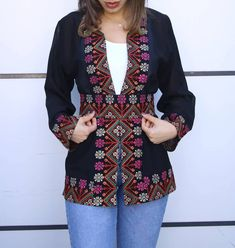 Black Georgette Open Jacket With Stylish Embroidery Modern African Print Dresses, African Wear Dresses, Ethiopian Traditional Dress, Traditional Dresses, Stylish Dress Designs, Stylish Dresses, Afghani Clothes, Designer Anarkali Dresses, Coats For Women