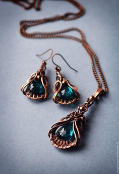 Купить Медный комплект украшений Капля моря - морская волна, медный комплект, украшения из меди