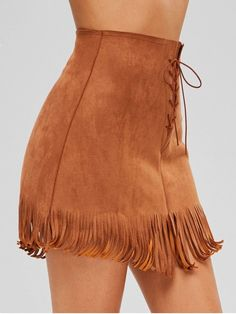 Faux Suede Lace-up Fringed Skirt - fashion_pintradio Skirt Fashion, Fashion Outfits, Fashion Blogs, Fashion Fashion, Trendy Fashion, Fashion Ideas, Fashion Trends, Suede Fringe Skirt, Easy Wear