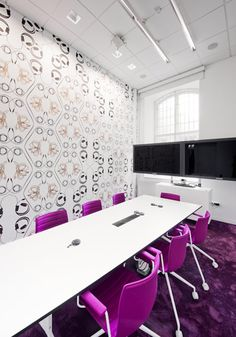 White conference with wall paper - Skype office by PS Arkitektur