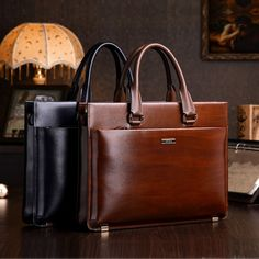 teemzone - Men's Genuine Leather High-end Business Briefcase Messenger Laptop Case Attache Bag Brown Attache Portfolio Tote Leather Office Bags, Leather Laptop Bag, Leather Briefcase, Business Briefcase, Briefcase For Men, Porta Notebook, Mens Casual Leather Shoes, Leather Bags Handmade, Brown Bags