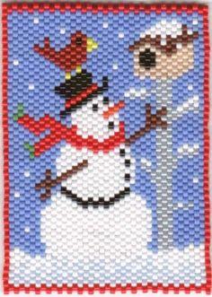 snowman Seed Bead Patterns, Peyote Patterns, Beading Patterns, Stitch Patterns, Christmas Perler Beads, Beaded Christmas Ornaments, Beaded Banners, Beaded Crafts, Needlepoint Patterns