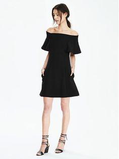Off-Shoulder Flounce Ponte Dress