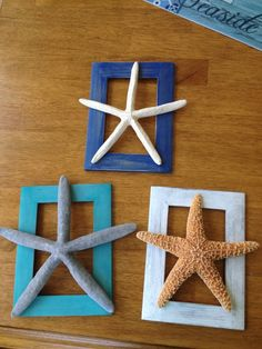 DIY beach decor- Paint some empty picture frames, sand if you want that distressed look, and glue starfish, shells, or anything else you can think of and use as wall decor!