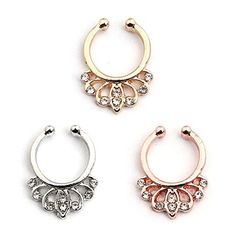 Vcmart Fake Septum Ring Faux Gold Silver Rosegold Non Pie...