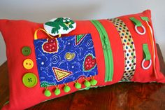 Homemade activity pillow for those with Alzheimer's.  Portion of every item sold goes to the Alzheimer's Association.