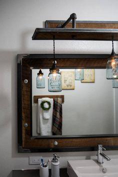 Rustic Industrial Light Steel and Barn Wood Vanity Light (Vintage Jar Shades) w/bulbs Rustic Industrial Furniture, Industrial Mirrors, Industrial Light Fixtures, Industrial Lighting, Cool Lighting, Industrial Farmhouse, Vintage Industrial, Rustic Bathroom Designs, Rustic Bathrooms