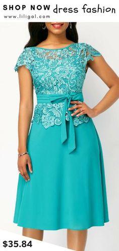 USD35.84 Tie Waist Lace Panel Round Neck Dress #liligal #dresses