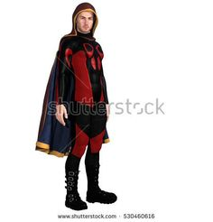 One young man in a super suit and a red cloak. It is on the camera right side of his body. 3D rendering, 3D illustration