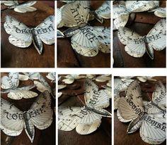 borboletas dimensionais de papel reciclado