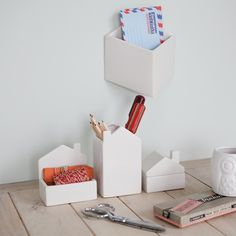 This set of 3 little houses is made from earthenware, glazed satin white inside out. One house has a removable roof/lid and others have open tops, great for organising everything on your desk. Desk Organizer Set, Desk Organization, Pencil Holder, Ceramic Design, Large Homes, Little Houses, Dorm Decorations, Floating Nightstand, Home Accessories