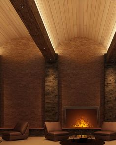 Cooper Industries - Cove Lighting, arch ceiling, brick walls